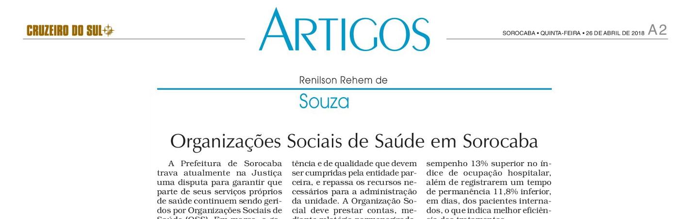 Artigo do Jornal Cruzeiro do Sul destaca embate da Prefeitura de Sorocaba para manter equipamentos de saúde administrados por OSS