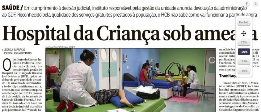 Icipe lamenta decisão judicial e deixa gestão do Hospital da Criança à disposição da Secretaria de Saúde do DF