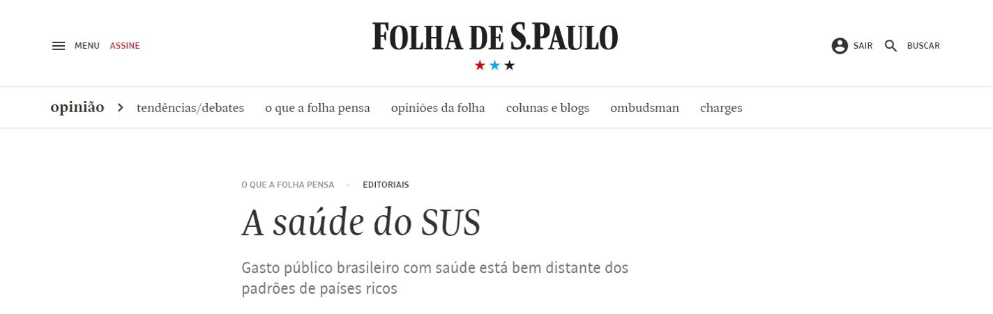 Editorial da Folha de S. Paulo aponta gestão por OSS como saída para gargalos do SUS