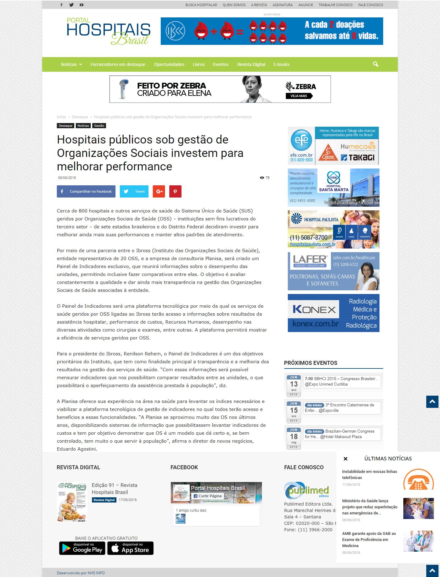 Projeto do Ibross em parceria com a Planisa é destaque do Portal Hospitais Brasil