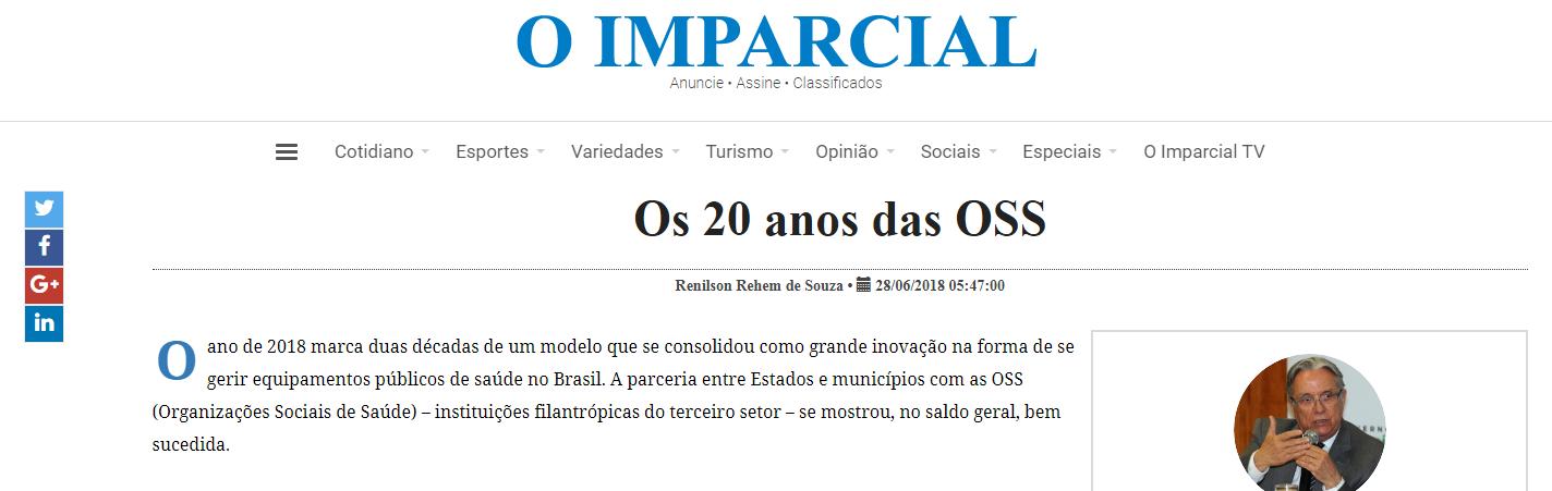 Artigo sobre 20 anos de OSS é destaque no jornal O Imparcial