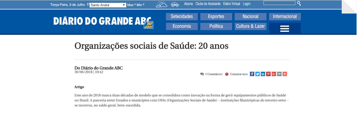 Diário do Grande ABC destaca 20 anos do modelo de OSS