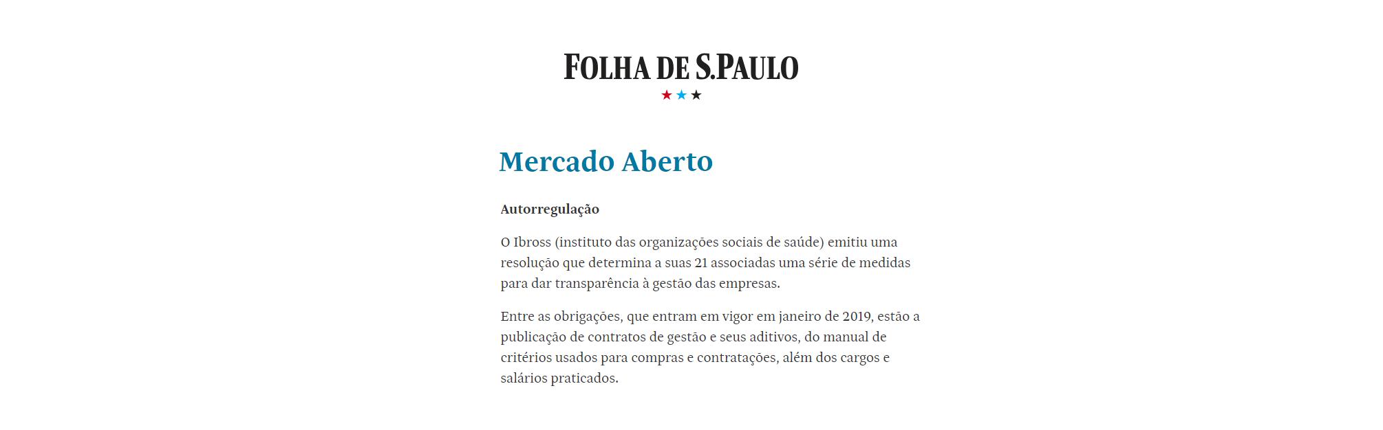 Resolução do Ibross com foco na transparência é destaque na Folha de S. Paulo
