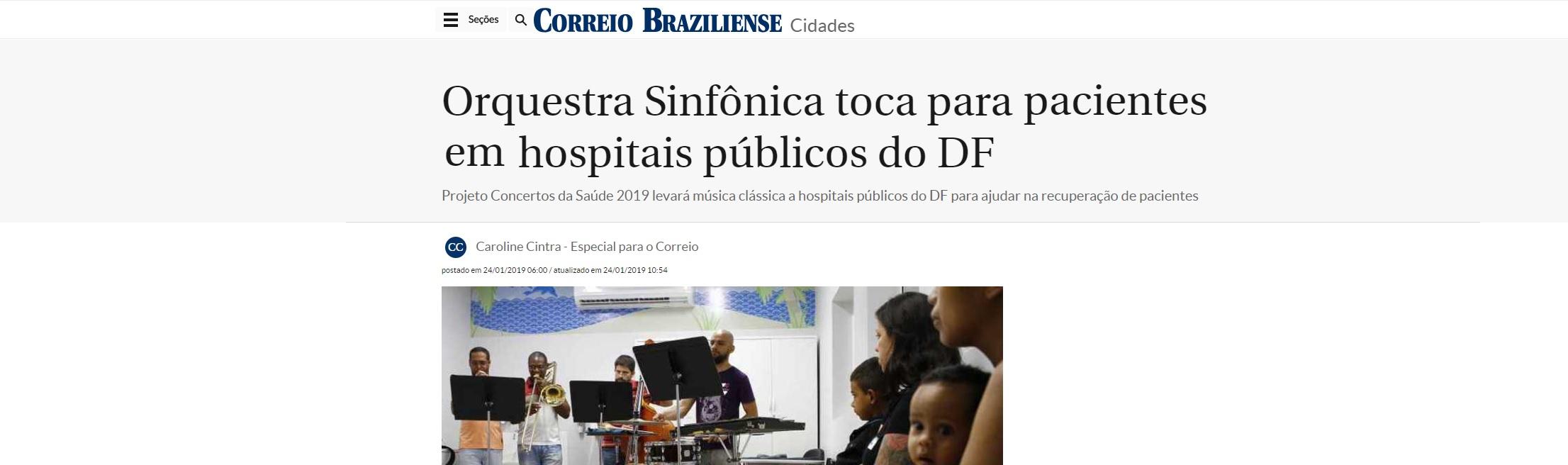 Correio Braziliense destaca orquestra para pacientes do Hospital da Criança
