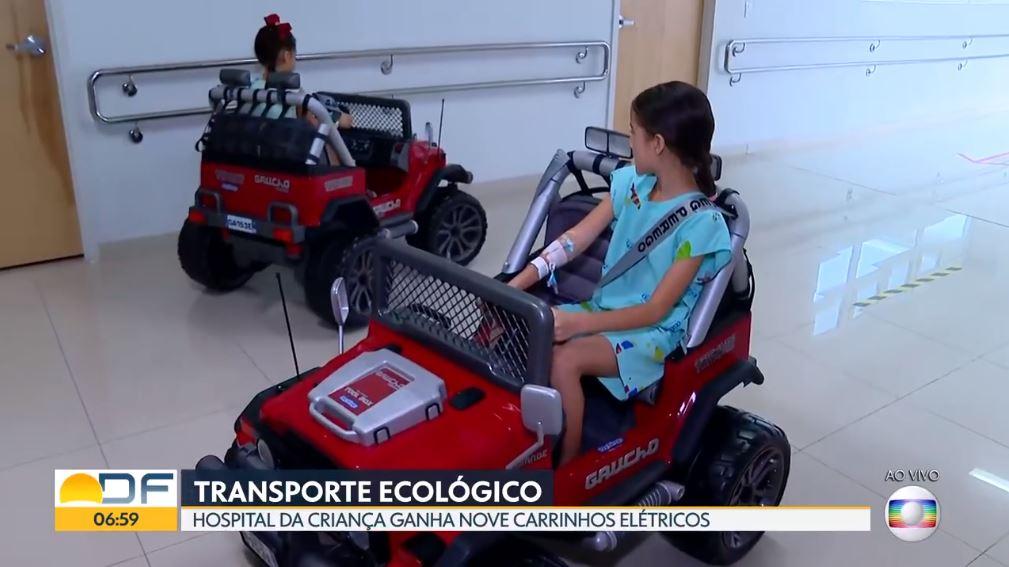 TV Globo mostra carrinhos ecológicos para os pacientes do Hospital da Criança de Brasília