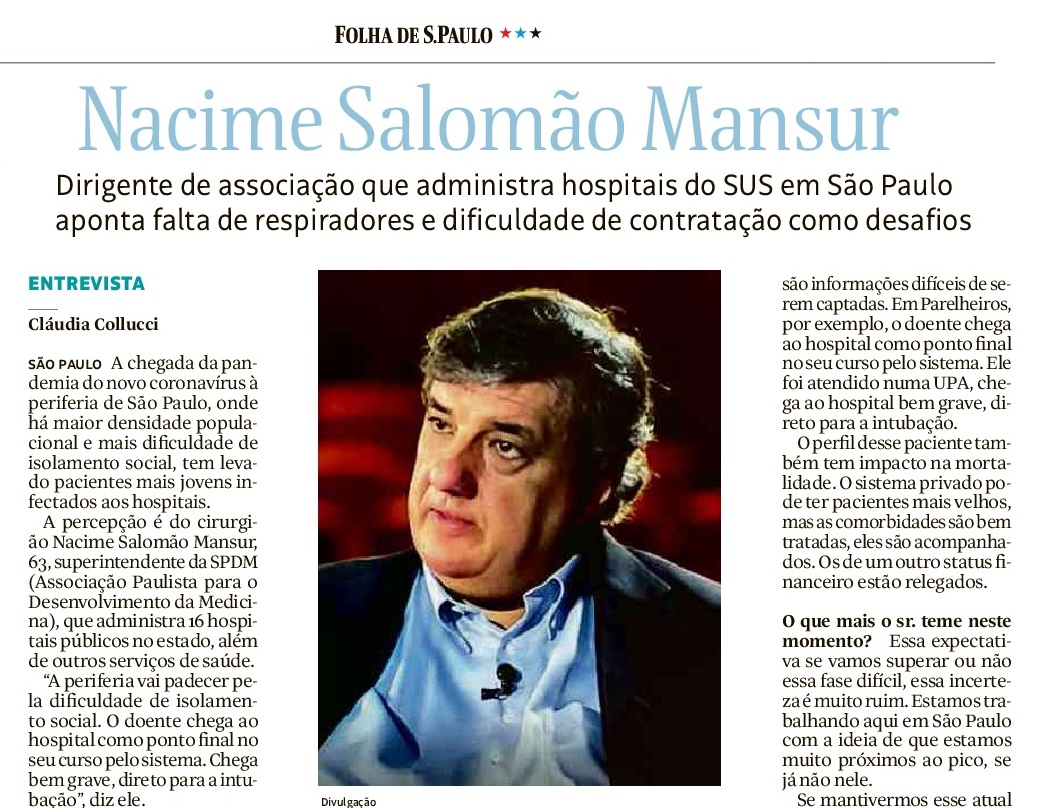 Folha de S. Paulo: Nacime Mansur fala sobre a gestão de hospitais contra o COVID-19