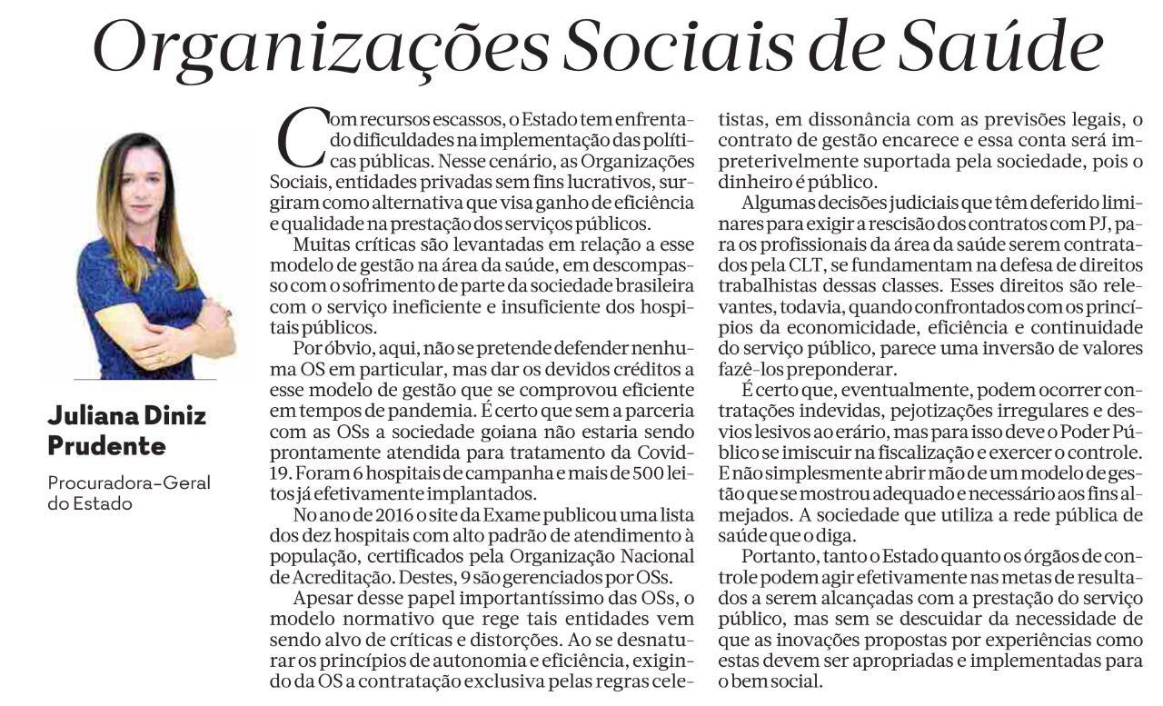 Procuradora-Geral do Estado de Goiás evidencia eficiência das OSS no Estado