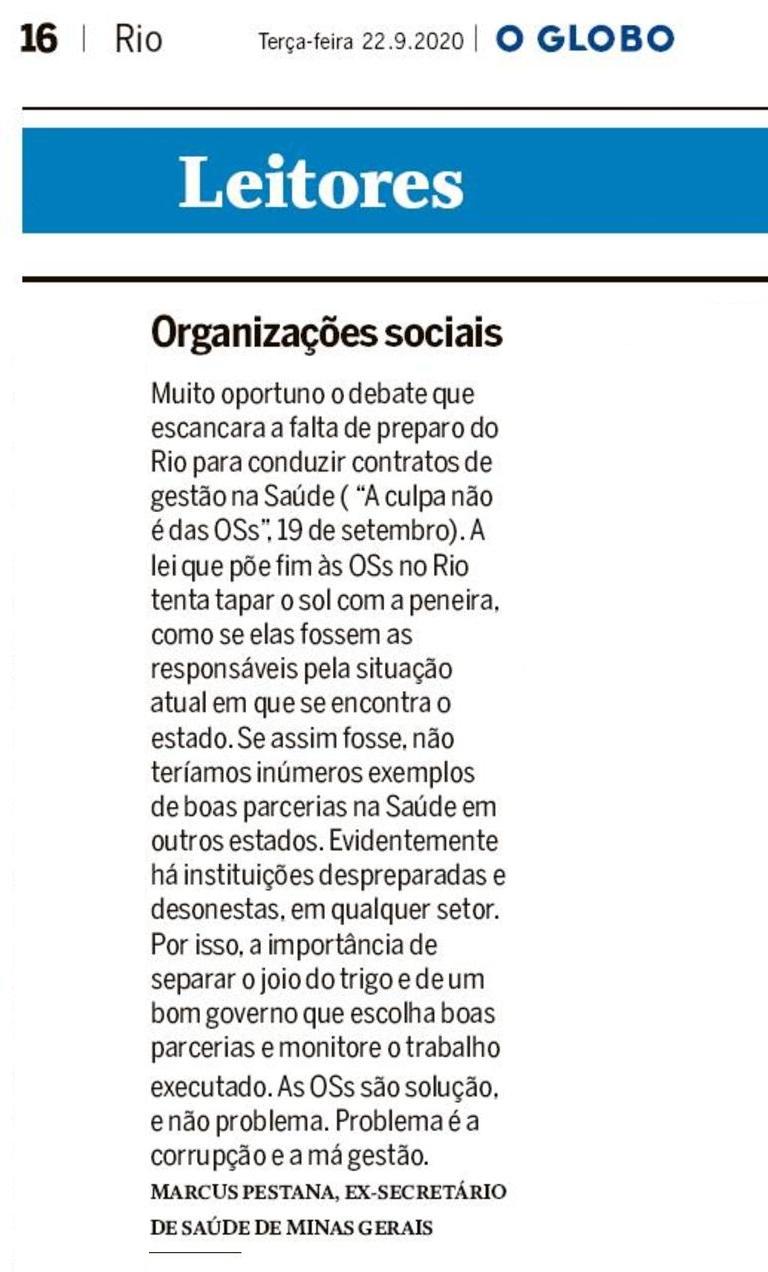 Em carta enviada ao O GLOBO, ex-secretário de Saúde de MG Marcus Pestana apoia artigo do Ibross