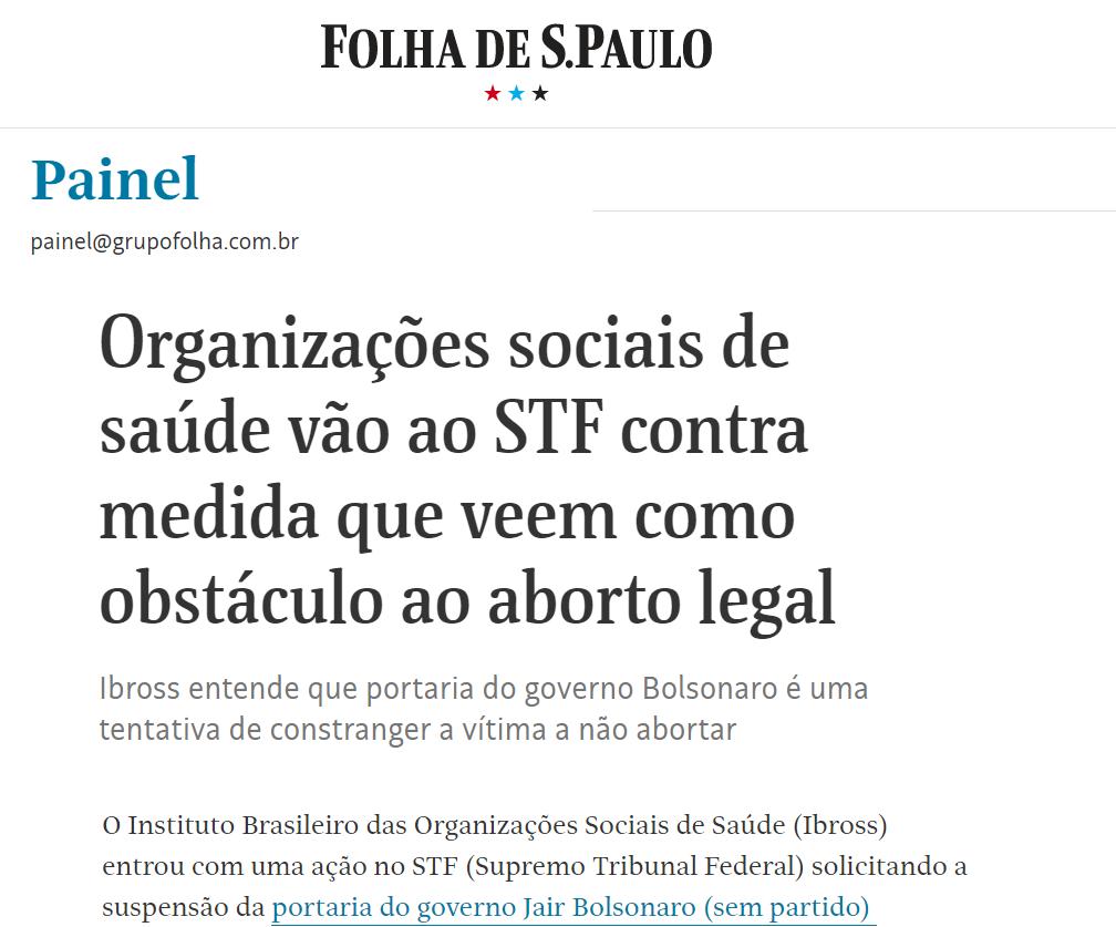 Folha de SP: Ibross questiona no STF portaria que cria obstáculos ao aborto em caso de estupro