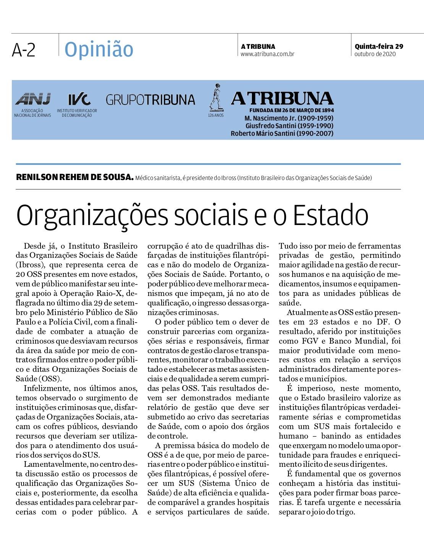 """NA MÍDIA! Confira aqui as publicações na imprensa do artigo """"Organizações Sociais e o papel do Estado"""""""